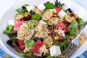 Mediterranean Farfalle salad with dry tomatoes and pine cores