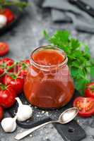 Tomato paste and fresh tomatoes, tomatos puree