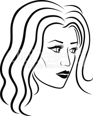 Beautiful women head outline