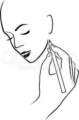 Human hand drawing a female head