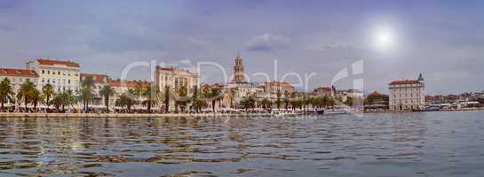 Riva waterfront, houses and Cathedral of Saint Domnius, Dujam, Duje, bell tower Old town by day, Split, Croatia