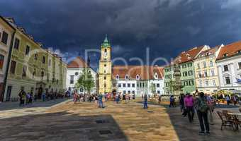 Main square in the old town of Bratislava, Slovakia