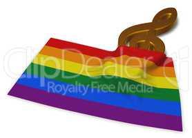 Gay Pride Flagge und notenschlüssel