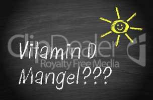 Vitamin D Mangel - Sonne mit Schriftzug