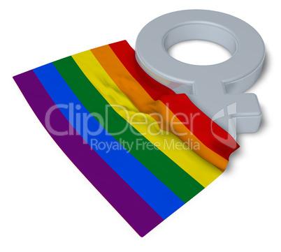 Gay Pride Flagge und symbol für weiblich