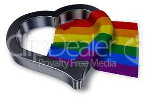 gay pride flagge und herz symbol