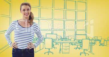 Millennial woman hands on hips against 3D yellow and blue hand drawn office