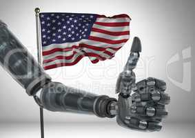 Robot with thumb up  against american flag