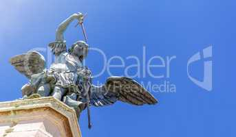 close up of the bronze angel at the top of Castel Sant Angelo in