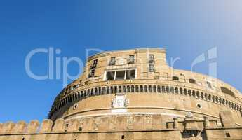 bottom view of Castel Sant Angelo in Rome
