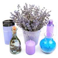 Lavender Gels, shampoos, salt and scented candles isolated on wh