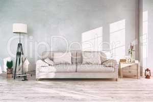 3d render - interior of scandinavian living room - retro look