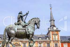 Plaza Mayor and King Philip lll equestrian statue