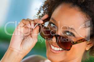 African American Woman Wearing Sunglasses