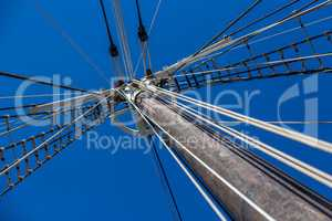Sailboat rigging and big mast