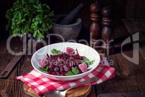 beetroot salad with raspberries