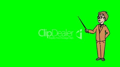 Animated Character Schoolboy with Glasses stands in full growth and says, curve contour, green screen, seamless loop