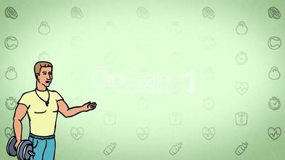 Animated Character Athlete or Coach stands in the foreground and says, curve contour, green background, seamless loop