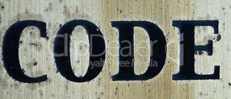 "Word ""code"" in black letters"