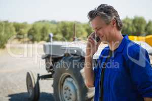 Worker talking on mobile phone