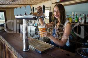 Portrait of young barmaid pouring beer from tap in glass