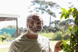 Happy senior man standing in the backyard
