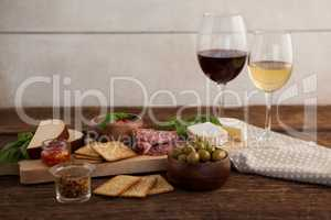 Ingredient with wine on table