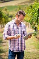 Young man using phone and tablet at vineyard