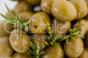 Extreme close up of green olives