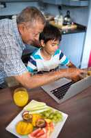 Grandfather assisting grandson using laptop