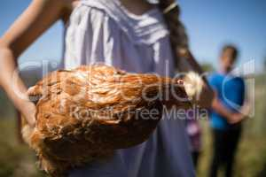 Girl carrying a hen in the farm