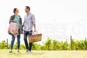 Full length of couple standing at lawn