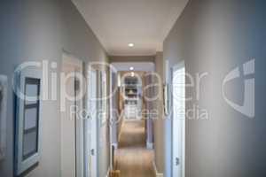 Open doors in corridor