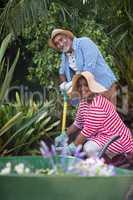 Portrait of senior couple gardening in yard