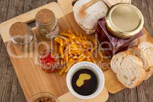 Food with jar on cutting boards