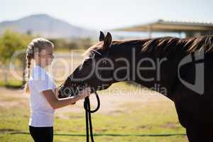 Girl adjusting the muzzle of the horse in the ranch