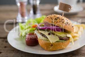 Close up of hamburger with label