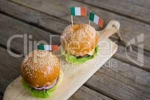 High angle view of burgers with Irish flag