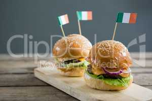 Close up of burgers with Irish flag