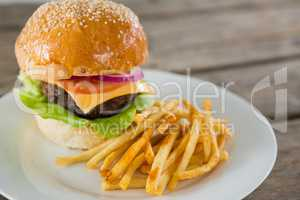Close up of hamburger and french fries in plate