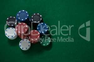 Stack of poker chips on table