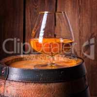 delicious bourbon on a wooden barrel