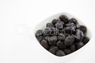 Dry olive fruit in bowl