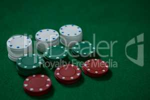 High angle view of poker chips