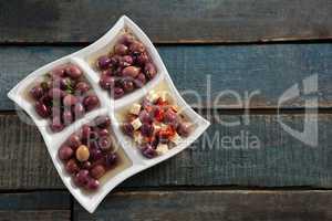 Pickled olives in platter