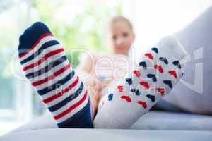 Girl wearing different socks