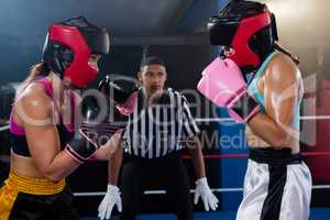 Young male referee looking at female boxers