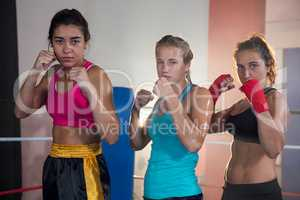Portrait of confident female boxers standing in fighting stance