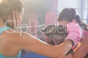 Young female boxers fighting in boxing ring