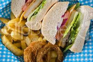 Close up of sliced burger with French fries and onion rings